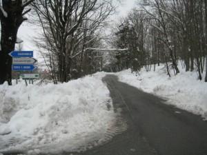Sneeuw op de weg naar Serre San Bruno